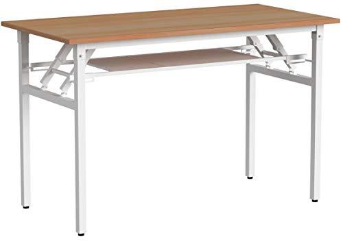 Need Schreibtisch Computertisch Arbeitstisch Bürotisch Holz, tragbar Konferenztisch Esstisch Klapptisch mit Gittertrennwand zur Lagrung 120x60CM,N-AC7BW
