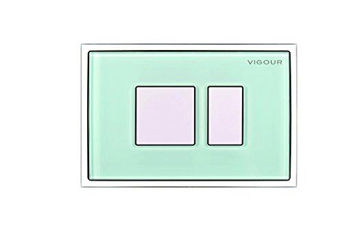VIGOUR Betätigungsplatte AI, Tastenrahmen aus Glas mint, Betätigungstaste Kunststoff weiß