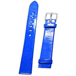 Enez Leather (PU) Leather Bracelet Width: 16mm Clock Ersatzarmband Blue T544