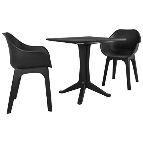 Tidyard- Esstisch mit 2 Stühle Set Modern Bistro Anthrazit Stühle Sitzgruppe, Tischgruppe, Küchentisch mit - Modernes Bistro Set