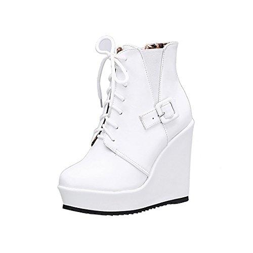 YE Damen Plateau Ankle Boots Keilabsatz High Heels Stiefeletten Wedges Damen Schnür Stiefel(Weiß,39) -