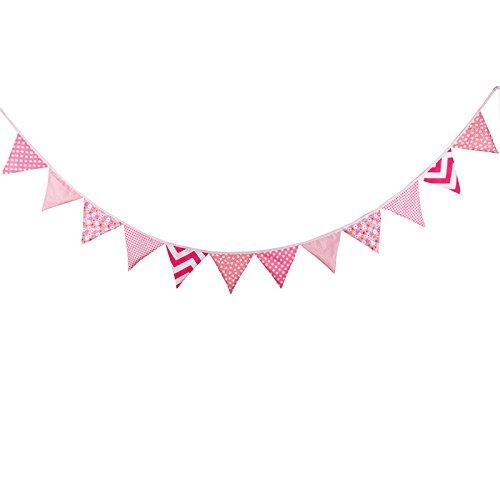 MASUNN Rosa Florale Papierfahnen Baumwollgewebe Dreiecks Buntings für Photo graue shooing Prop Dekor Kulisse