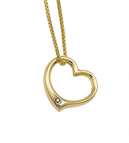 ASS 333 Gold Anhänger offenes Herz doppelseitig 13mm mit kleinem Diamant 0,005ct,Bicolor(ohne Kette)