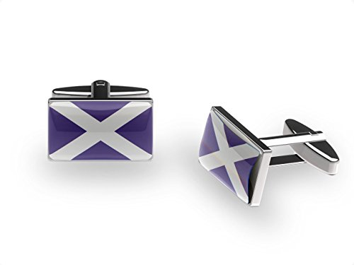 Cuffs 'N' Collars Schotten Passion Manschettenknöpfe (Schottland Flagge Manschettenknöpfe mit Geschenk-Box)