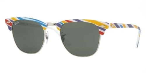 Ray-Ban 3016 1013 Gestreift Blau Rot Gelb 3016 Clubmaster Wayfarer Sunglasses Lens Category 3 Size Small 49mm