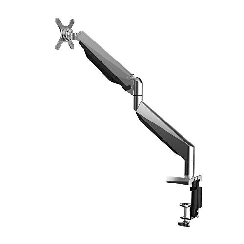 eSmart Germany Designer Bildschirm-Halterung mit Gasdruckfeder und Hub für USB, Kopfhörer und Mikrofon | Monitor Tischhalterung drehbar, neigbar, schwenkbar nur mit der Kraft eines Fingers | für Monitore bis 25 - 76 cm (10