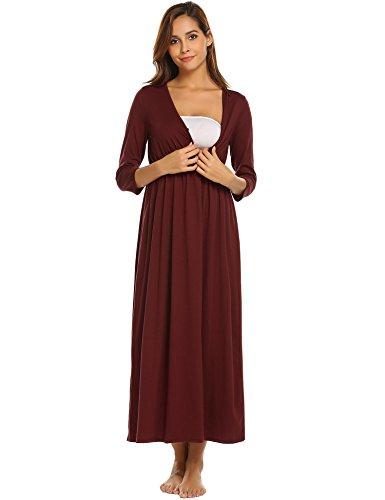 Skylin Nursing Pjs Loungewear Women Maternity Clothes Breastfeeding  Nightwear (Wine Red 09dd0e005
