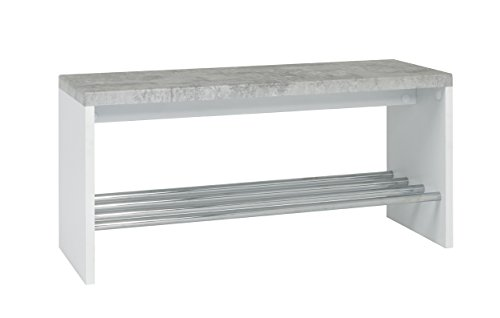 Haku-Möbel 95630 Bank, Metall, Betonoptik-weiß-Chrom, 81 x 30 x 40