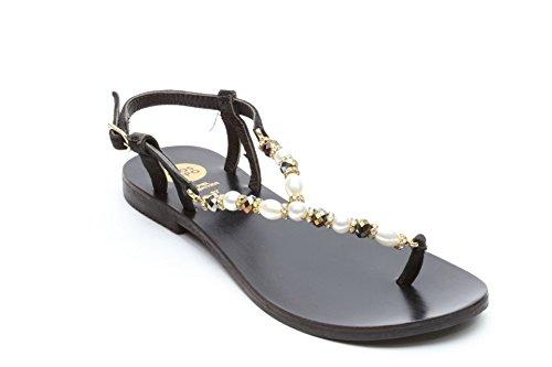 GIOSEPPO sandalo infradito REMY nero + perle (36)