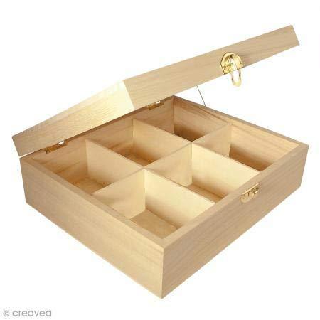 Rayher 62408000 Holz-Teebox, 21,5 x 18 x 7 cm, 6 Fächer, naturbelassen, mit Metallschließe,...
