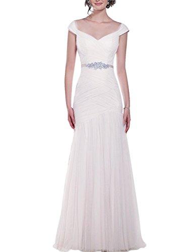 jydress femmes robe de mariée sirène Tulle perles robe de mariée Plissé Blanc