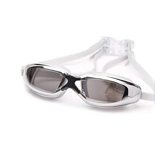 Jolly Schwimmbrille, Schwimmbrille Kein Auslaufen Anti-Fog-UV-Schutz Kristallklare Sicht Triathlon-Schwimmbrille mit kostenlosem Schutzetui für Erwachsene Männer Frauen Jugendliche (Farbe : Weiß)