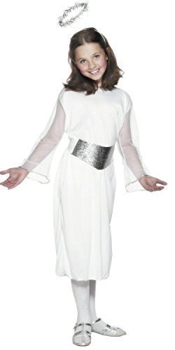 Fancy Me Kinder Mädchen 3 Stück Weiß Silber Engel Gabriel Weihnachten Fee Geburt Kostüm Kleid Outfit mit Halo - Weiß, Weiß, 7-9 Years (Kinder Kostüm Engel Gabriel)