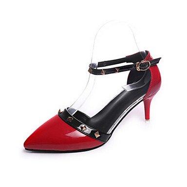 Lvyuan-ggx Womens Confortable Talons Pu (polyuréthane) Printemps Casual Noir Rouge Rose Plat Noir