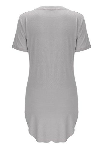 Smile YKK Femme T-Shirt à Manche Longue Irrégulière Nombril-mise à Nu Col Rond Gris