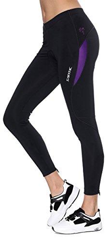 Santic Fahrradhose Damen Gepolstert Lang,Radhose Damen Lang,Radlerhose Damen Gepolstert auch für MTB Violett EU XL