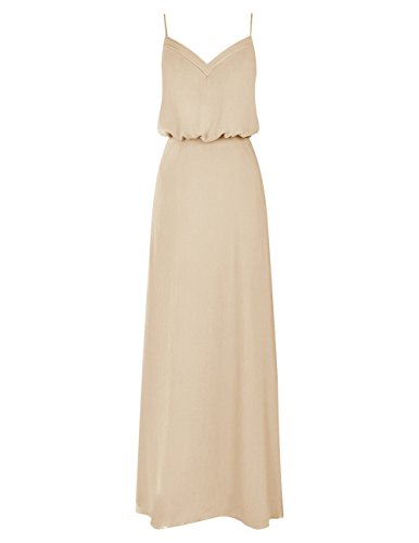 Dresstells Bodenlang Elegant Abendkleider mit Spaghetti-Trägern Champagner