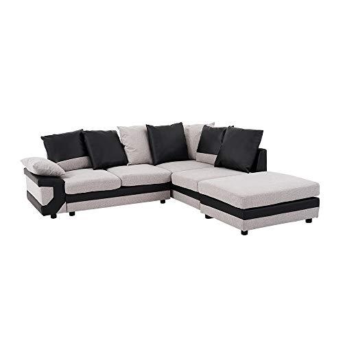 Anaelle Panana Canapé d'angle Sofa Moderne en Lin + PU Cuir 5 Places pour Salon, Bureau (Gris+Noir)