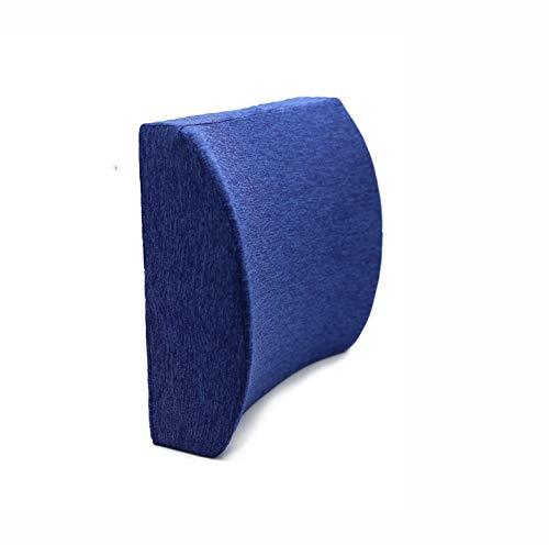 Cojines lumbares de algodón con memoria rebote lento en la cintura engrosamiento soporte lumbar para automóvil de oficina, 36x31x12cm, azul real