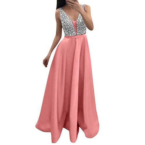 TPulling Damen Paillettenkleid V Ausschnitt Kurzarm Blusenkleider  Sommerkleider Mini Strandkleider Casual Lose Kleid