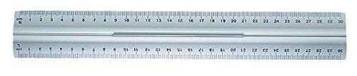 Wedo 0525235 Lineal aus Aluminium 30 cm mit Griff für Rechts- und Linkshänder mit rutschsicherer Gummieinlage