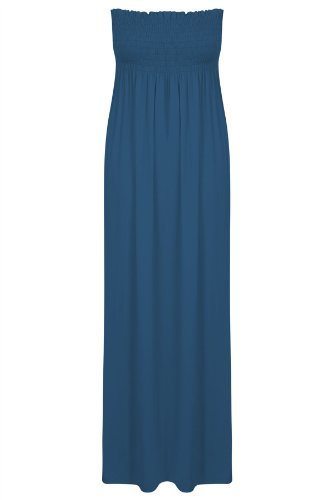Plus Maxi-kleid Größe Blau (Neue Womens Plus Größe Hauchdünn Gerafft Bandeau Top Lang Trägerloses Maxi-kleid - Blau, Damen, 52/54 (3XL))