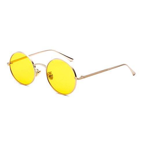 178fd70349 Inlefen Gafas de sol de marco redondo de metal Gafas de sol de círculo  vintage para