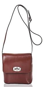 italienische Damen Umhängetasche Madrid aus echtem Leder in haselnuss braun, Made in Italy, Handtasche 20x19cm
