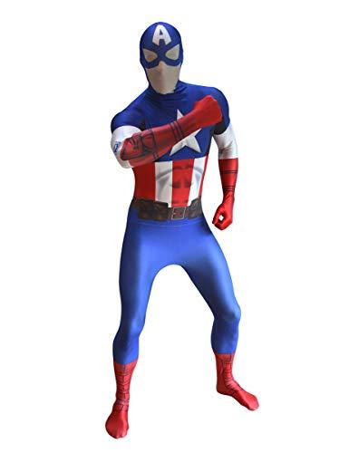Marvel Captain America digitale prodotto ufficiale Morphsuit, colore blu bianco rosso