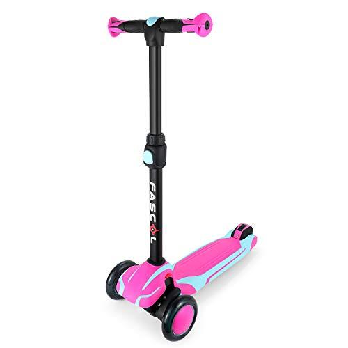 Fascol Monopattino per Bambino Monopattino a 3 Ruote Scooter Pieghevole con Altezza Regolabile e Ruote Luminose Perfetto per Bambini 2-12 Anni, Rosa