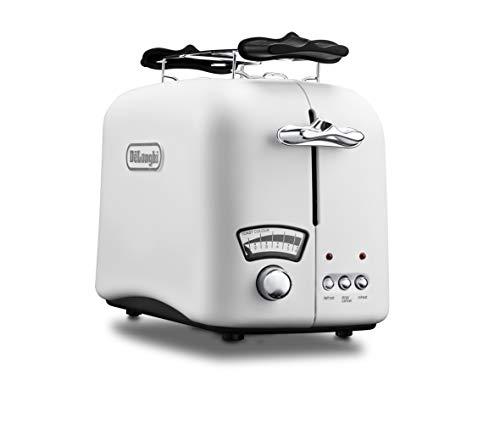 De'Longhi Argento Toaster CTO21.W1 | 2 Schlitz Toaster | Brötchenaufsatz | Bräunungsgrad stufenlos einstellen | Classic White