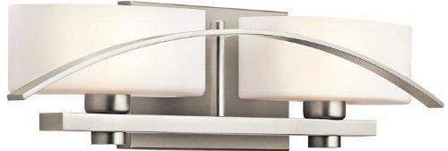Cased Opal Shade (Kichler Lighting 45316NI Suspension 2-Light Vanity Fixture, Brushed Nickel Finish with Satin Etched Cased Opal Glass Shades by Kichler Lighting)