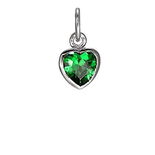TheCharmWorks Ciondolo Cuore con Cristallo Smerallo Verde in Argento 925 - Cupido Amore Charm