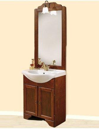 Mobile arredo da bagno portofino arte povera 65 cm legno noce con lavabo in ceramica e specchio