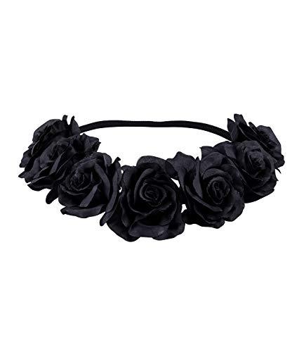 SIX Damen Haarband, Kopfband, Stirnband, Blumenkranz, Haarkranz, Kopfschmuck, Gothic, Rosen, Blüten, schwarz - Tag Der Toten Kostüm Haar