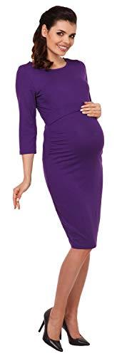 Zeta Ville – Still Kleid Diskretes Schwangere Rundhalsausschnitt – Damen – 972c (Lila) - 5