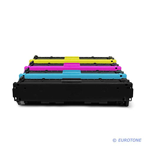 4X Eurotone Remanufactured Toner für HP Color Laserjet CP 1210 1213 1214 1215 1217 1513 1514 1515 1516 1517 1518 1519 NI N ersetzt CB540A-43A 125A - Kit Color Laserjet