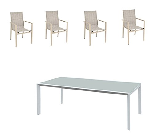 greemotion Gartenmöbel Set Stockholm beige/grau, 5-teilige Sitzgarnitur mit Esstisch, wetterfestes...