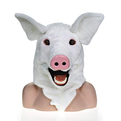 KX-QIN Hochwertige handgemachte Party Moving Mouth Maske Spotted Pig Simulation Tier Maske Deluxe Neuheit Halloween Kostüm Party Latex Tierkopf Maske for Erwachsene und Kinder