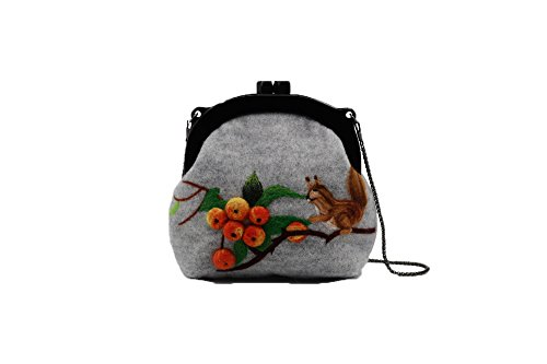 Ysting Infeltrito borsa, infeltrito borsa, infeltrito Scoiattolo, scoiattolo arte, borsa a mano a maglia