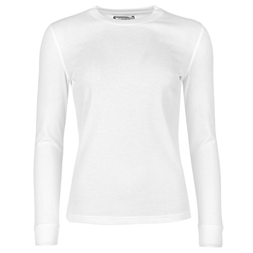 Campri Damen Thermo Baselayer Shirt Langarm Flatlocknähte Weiß M (Top Thermal Sleeve Damen Long)