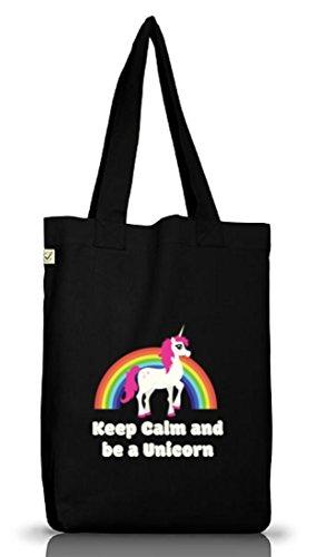 Einhorn Jutebeutel Stoffbeutel Earth Positive mit Rainbow - Keep Calm And Be A Unicorn Motiv Black