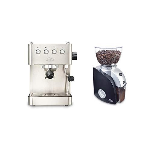 Solis Espressomaschine, Programmierbare Tassengröße, Dampf- und Heißwasserfunktion, 58 mm Profi-Siebhalter, 15 bar, 1,7 l Wassertank, Edelstahl, Barista Gran Gusto + Solis Elektrische Kaffeemühle