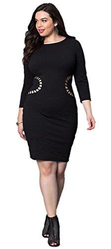 La Vogue Robe Femme Grande Taille Manche Longue Moulant Stretch Soirée Noir