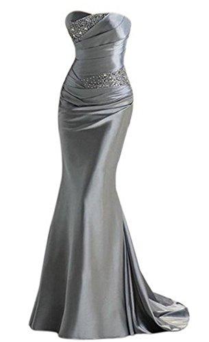 PLAER femmes Sexy Fishtail Soutien-gorge robe mariage de demoiselle d'honneur robe soirée de fête cocktail robe Gris