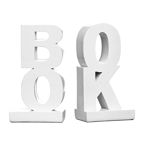 Kendalls Protege Homeware Buchstützen aus Polyresin, Hochglanz-Finish, Weiß -