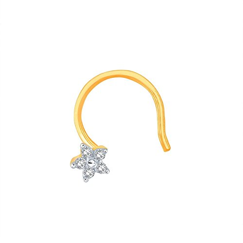Avnni By Nakshatra 14KT Yellow Gold and Diamond Nose Pin for Women