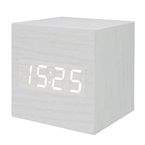 GANGHENGYU LED Réveil en bois Mute numérique Accueil Bureau de