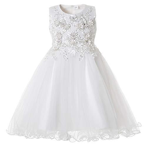 CIELARKO Vestito Floreale Bambina Matrimonio Principessa Vestito Ragazza Elegante Estivo Abiti Bambina da Cerimonia 2-11 Anni