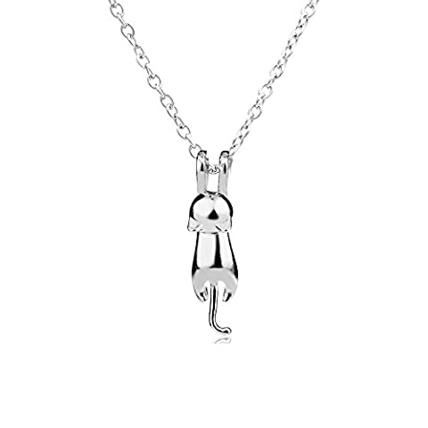 2 Style Silver 3D Cute Cat Matte surface/smooth Kitty Pendant Necklace Gift for Family Friends Sister (Smooth)